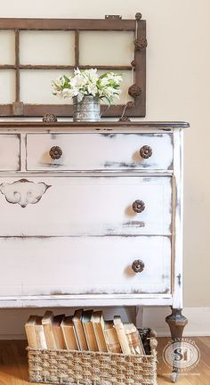 Pink Farmhouse Dresser Painted & Stained | Salvaged Inspirations #paintedfurnituredistressed