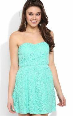 Deb Shops  mint allover lace strapless elastic waist skater  dress  26.35  Colourful Outfits 1e8e55f64