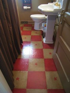 Primitive Bathroom Makeover, Small bathroom decorated primitive style., My painted bathroom floor, yep right over the old floor covering. Us...