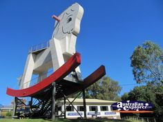 The Big Rocking Horse and is located at The Toy Factory, 452 Torrens Valley Road, Gumeracha, South Australia.