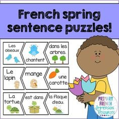 French Spring Sentence Scramble ♦ Use as a centre - students sort the shapes to create spring sentences. Great for Daily 5 / 5 au quotidien centres for your Immersion or Core French students in the spring! Spanish Teaching Resources, French Resources, French Sentences, Communication Orale, French Flashcards, Learn To Speak French, French Education, Core French, French Classroom