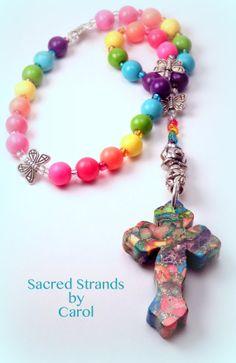 Anglican Prayer Beads made with Rainbow by SacredStrandsbyCarol, $30.00
