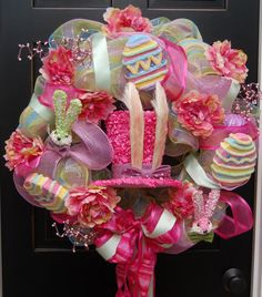 Happy Easter Bunny Wreath  Deco Mesh Filled with by MaddysonsLane, $125.00
