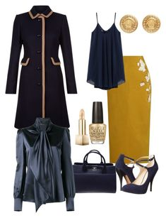 """""""Navy and Gold"""" by klm62 ❤ liked on Polyvore featuring Brock Collection, Nine West, Chanel, Hobbs, Versace, OPI, Burberry and Yves Saint Laurent"""
