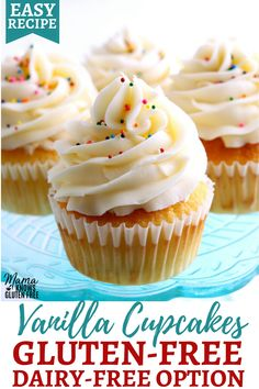 An easy recipe for gluten-free vanilla cupcakes that are soft and fluffy. Bakery-style gluten-free cupcakes topped with a vanilla buttercream frosting. The gluten-free cupcake recipe also has a dairy-free option. Dairy Free Vanilla Frosting, Gluten Free Frosting, Vanilla Buttercream, Buttercream Frosting, Sugar Free Cupcakes, Gluten Free Cupcakes, Gluten Free Sweets, Gluten Free Cupcake Recipe Easy, Gluten Free Bakery