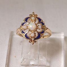 Vintage 14k Gold and Opal Ring with Enamel by MagpieVintageJewelry on Etsy