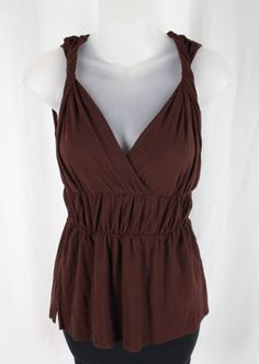 Sweet Pea Women's Brown Sleeveless V Neck Shirt Tank Top Size XS