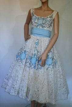 50's lace blue floral applique sash tea length wedding dress $10.50