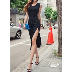 Solid Color Sleeveless Scoop Neck Drapped Women's Dress #lily