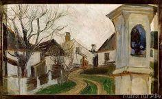 Egon Schiele - Kahle Bäume, Häuser und Bildstock