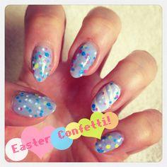My nail art, Easter confetti