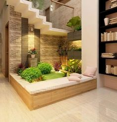 15 Perfect Indoor Garden Design Ideas For Fresh Houses home design House Design, Plant Office Design, Home Garden Design, Fresh House, Garden Office, Interior Garden, House Interior, Home Interior Design, Stairs Design