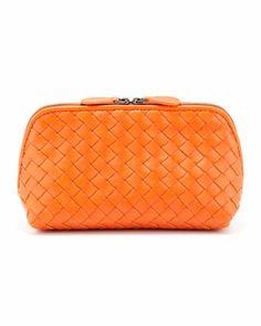 Intrecciato  Medium Cosmetic Bag, Tangerine by Bottega Veneta at Bergdorf Goodman.