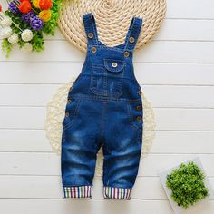 FWJ-USA Casual Toddler Kids Girls Denim Bib Pants Romper Jumpsuit Outfit Clothes