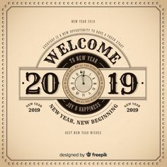 Vintage happy new year 2019 background Free Vector Vintage Happy New Year, Happy New Year Images, Happy New Year 2019, Best New Year Wishes, Backgrounds Free, Nurse Humor, New Opportunities, New Beginnings, New Day