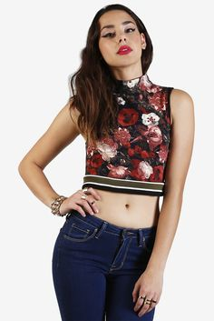 Asha Floral Mock Neck Crop Top