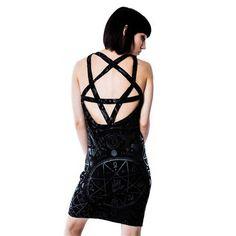 Cult korte jurk met pentagram detail zwart - Rock Metal Gothic Occult - XS - Killstar