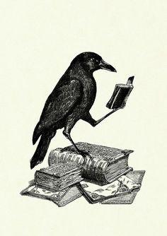 Halloween Raven Crow reading a Book Victorian by emporiumshop