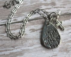 It Is Well With My Soul Necklace Hand by designchickcreations