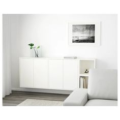 EKET Wall-mounted cabinet combination - white - IKEA - or maybe light grey? Ikea Wall Cabinets, Floating Cabinets, Floating Media Console, Wall Mounted Media Console, Floating Shelves, Sala Ikea, Ikea Eket, Flexible Furniture, Small Space Storage