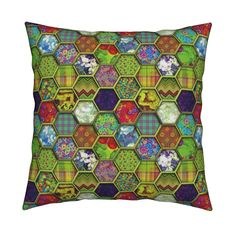 Catalan Throw Pillow featuring METALLIC MIX HEXIES 3D CHARTREUSE LIME GREEN by paysmage | Roostery Home Decor