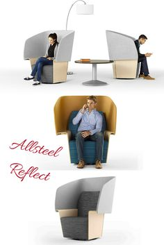 Office Privacy Chair or Office Privacy Booth for an open office break-out area for your office design ideas. Allsteel Reflect Chair Designed for visual privacy. Open Concept Office, Open Office Design, Office Interior Design, Office Interiors, Lounge Design, Chair Design, Furniture Design, Office Furniture, Desk Dividers