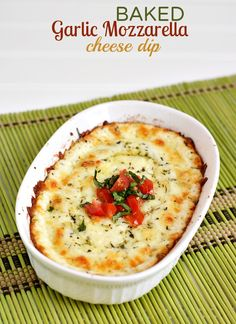 Baked Garlic Mozzarella Cheese Dip Recipe - Make Game Day tastier by dipping pizza strips in this yummy cheesy dip! #teampizza #cbias #ad