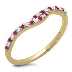 Share 0.20 Carat (ctw) 10K Yellow Gold Round Cut Red Ruby & White Diamond Ladies Anniversary Wedding Band Guard Ring 1/5 CT - Dazzling Rock #https://www.pinterest.com/dazzlingrock/