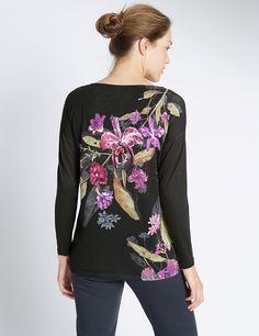 Floral Print V-Neck Long Sleeve Jersey Top