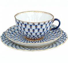 Lomonosov Porcelain Tea Cup Set 3pc Tulip Cobalt Net 8.45 oz/250 ml
