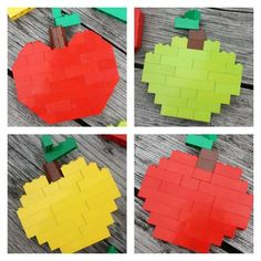 Create a Fall apple tree mosaic with LEGO pieces. Combine engineering, art, and math to build an apple tree mosaic! Great STEAM Fall project idea with LEGO.