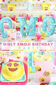 birthday party decorations OMG it's an emoji birthday party full of your favorite emoji characters and all things girly! See how Missy & Kristen from Sweetly Chic created this totally customized party with a selfie station and more. 9th Birthday Parties, 14th Birthday, Diy Birthday, Birthday Party Invitations, Emoji Birthday Party Ideas Girls, Emoji Theme Party, Icon Girl, Emoji Characters, Girl Emoji