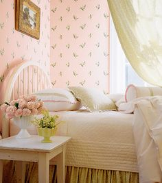 Pink Wallpapered Girl's Bedroom