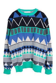 Green Long Sleeve Geometric Print Pullovers Sweater #cosby #sweater