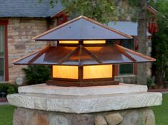 Column post lantern in copper and amber iridized glass