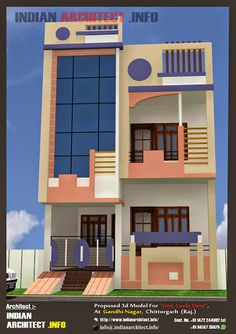Leela Devi House 24 x 1000 Sqft Floor Plan and Elavation House Front Wall Design, House Main Gates Design, Brick House Designs, Duplex House Design, Small House Design, 20x30 House Plans, 3d House Plans, Indian House Plans, Model House Plan