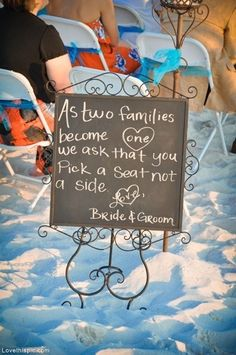 Pick a seat not a side photography wedding beach decor sign