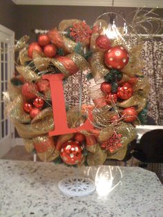Custom Christmas Wreath that can be made with any colors or initial