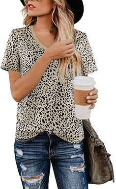 BMJL Women's Casual Cute Shirts Leopard Print Tops Basic Short Sleeve Soft Blouse(L, Leopard) at Amazon Women's Clothing store Casual T Shirts, Cute Shirts, Casual Tops, Leopard Print Shorts, Leopard Blouse, Leopard Top, Leopard Prints, Cheetah Print, Leopard Print Outfits