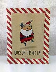 "handmade Christmas card made by stef using My Favorite Things ""Jingle all the way"" ... luv the coloring on kraft ... wide mat with diagonal red and white stripes ... fun!!"