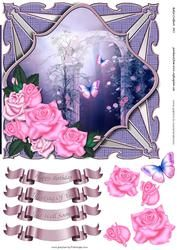 Pink Rose Arch Shaped Card Topper