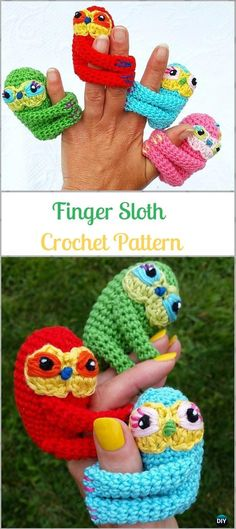 Crochet Amigurumi Finger Sloth Paid Pattern-Crochet Sloth Amigurumi Toy Softies Patterns