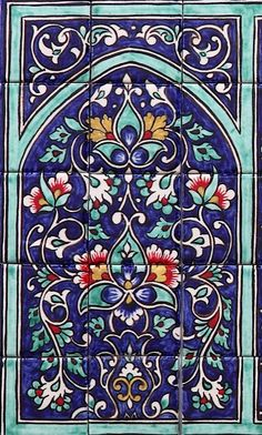 Arastan Rishtan Tri-Panel at Goodearth Tile Murals, Mural Art, Tile Art, Mosaic Tiles, Turkish Art, Turkish Tiles, Islamic Tiles, Islamic Art, Tile Patterns