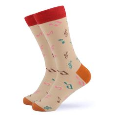 If you're looking for some fun music socks that you can dance around in, then we have them. Music notes on a tan background will certainly catch your guest& attention. Made with Cotton, Nylon, and Spandex, these Unisex socks are perfect for US Size feet. Funky Socks, Crazy Socks, Brown Socks, Fun Music, Happy Socks, Dance The Night Away, You're Awesome, Music Notes, Some Fun