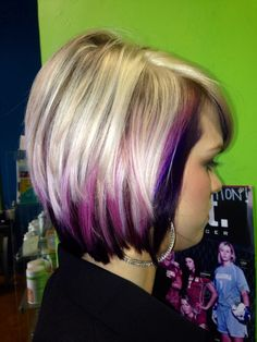Pink purple and blonde hair