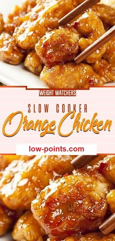 This slow cooker orange chicken is breaded chunks of chicken tossed in a sweet and savory Asian sauce and cooked in the crock pot. A take out copycat that's perfect for a busy weeknight! Poulet Weight Watchers, Plats Weight Watchers, Weight Watchers Chicken, Weight Watchers Orange Chicken Recipe, Healthy Crockpot Recipes, Ww Recipes, Cooking Recipes, Weight Watcher Crockpot Recipes, Weight Watchers Recipes With Smartpoints
