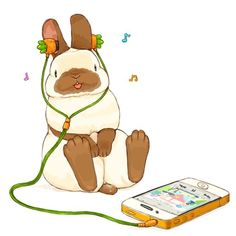 Sweet tunes for carrot tops, my bunny has the best taste in music Bunny Art, Cute Bunny, Cute Animal Drawings, Cute Drawings, Fluffy Bunny, Natsume Yuujinchou, Pokemon, Rabbit Art, Bear Art