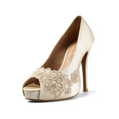 Miss Ace 2 Ivory Beige Lace Adorned Wedding Shoes Satin Bridal Heels Pearl