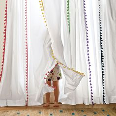 Maize French Tassel Window Panel | Serena & Lily  For the girls' room. Would need a blackout lining too.