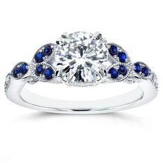 Annello by Kobelli 14k White Gold Moissanite and Sapphire Floral Engagement Ring #engagementrings #gold14kjewelry